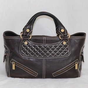 Celine Brown Quilted Leather Boogie Handbag ITALY